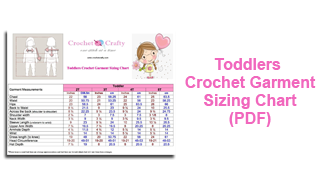 Crochet Toddlers Garment Sizing Chart
